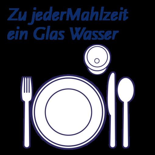 Zu jeder Mahlzeit ein Glas Mineralwasser